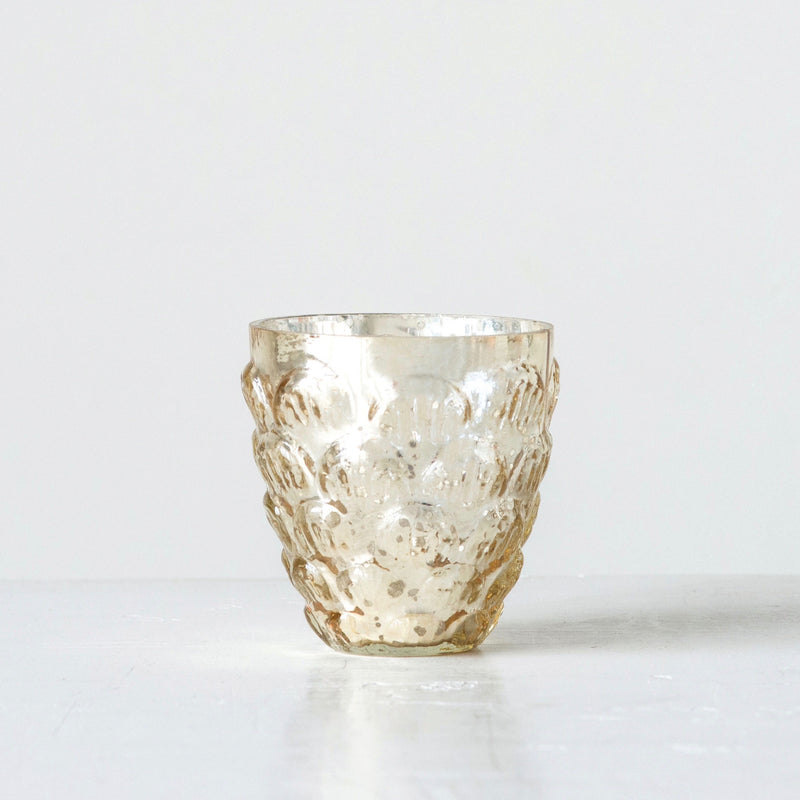 Antique Silver with Gold Finish Mercury Glass Votive