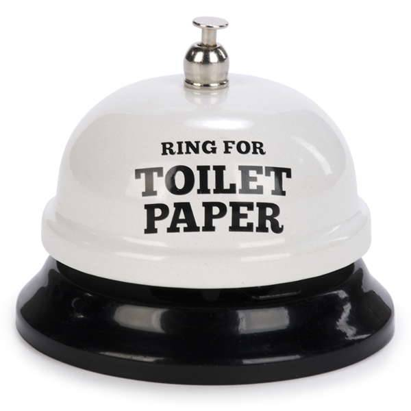 """Ring for Toilet Paper"" White Bathroom Bell"
