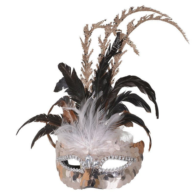 Sequinned Venetian Mask with Feathers, CT-Christmas Tradition, Putti Fine Furnishings