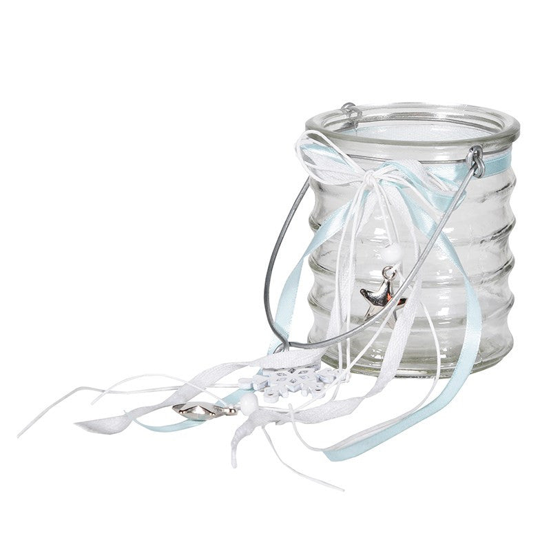 Ribbed Glass Tea Lite Holder with silver stars