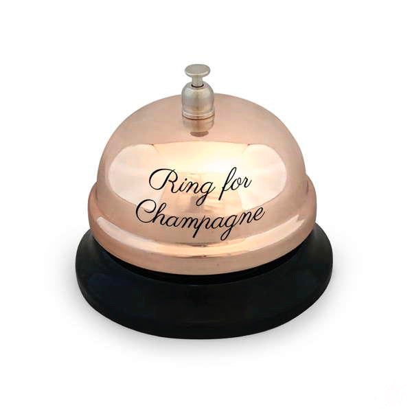 """Ring for Champagne"" Rose Gold Bar Bell"