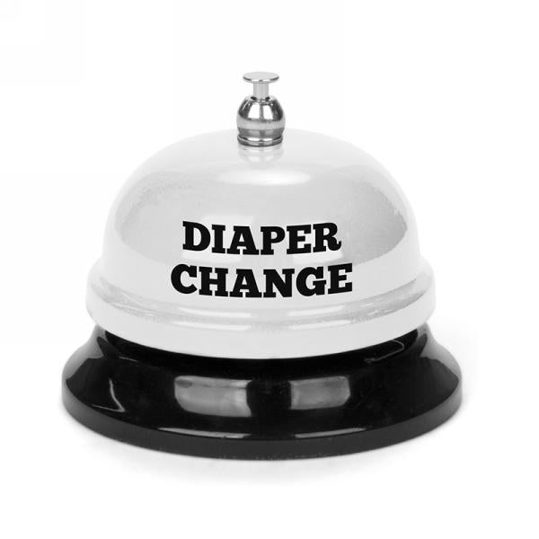 """Ring for Diaper Change"" White Counter Bell"