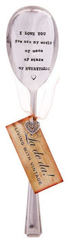 """I love you You are my moon my ......"" Vintage Serving Spoon -  Hand Stamped Spoons - La De Da Living - Putti Fine Furnishings Toronto Canada - 2"