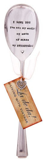 """I love you You are my moon my ......"" Vintage Serving Spoon"