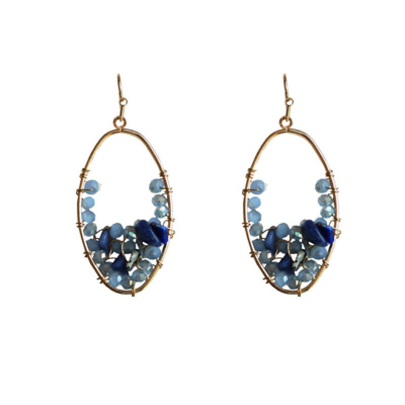 Belle & Flo Semi Precious Loop Earrings - Blue, B&F-Belle & Flo UK, Putti Fine Furnishings