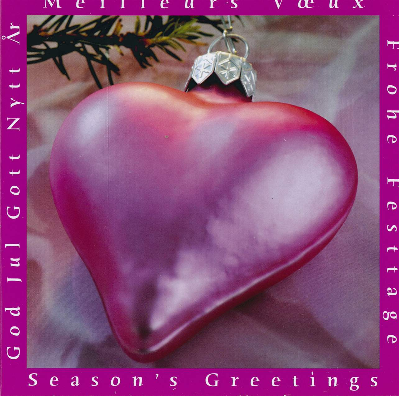 Pink Heart Ornament Boxed Christmas Cards