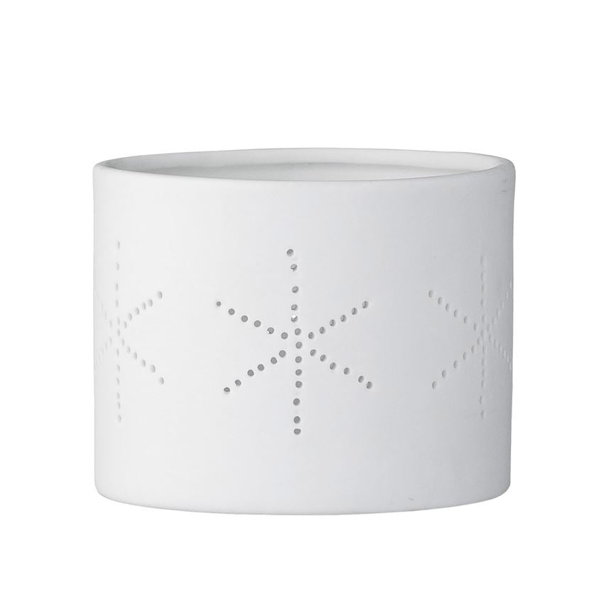 Bloomingville White Porcelain Snowflake Tea Light Holder | Putti Celebrations