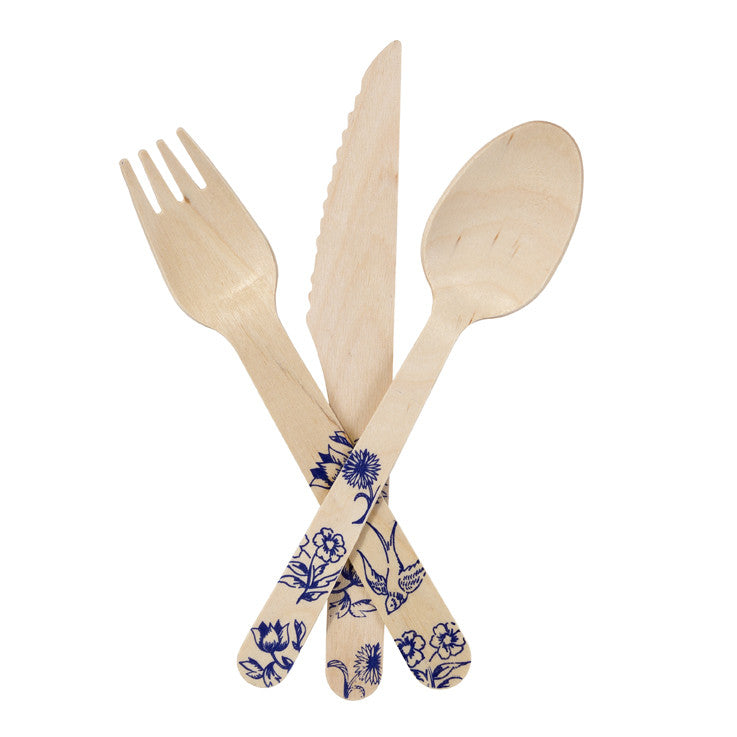 Party Porcelain Blue Wooden Cutlery