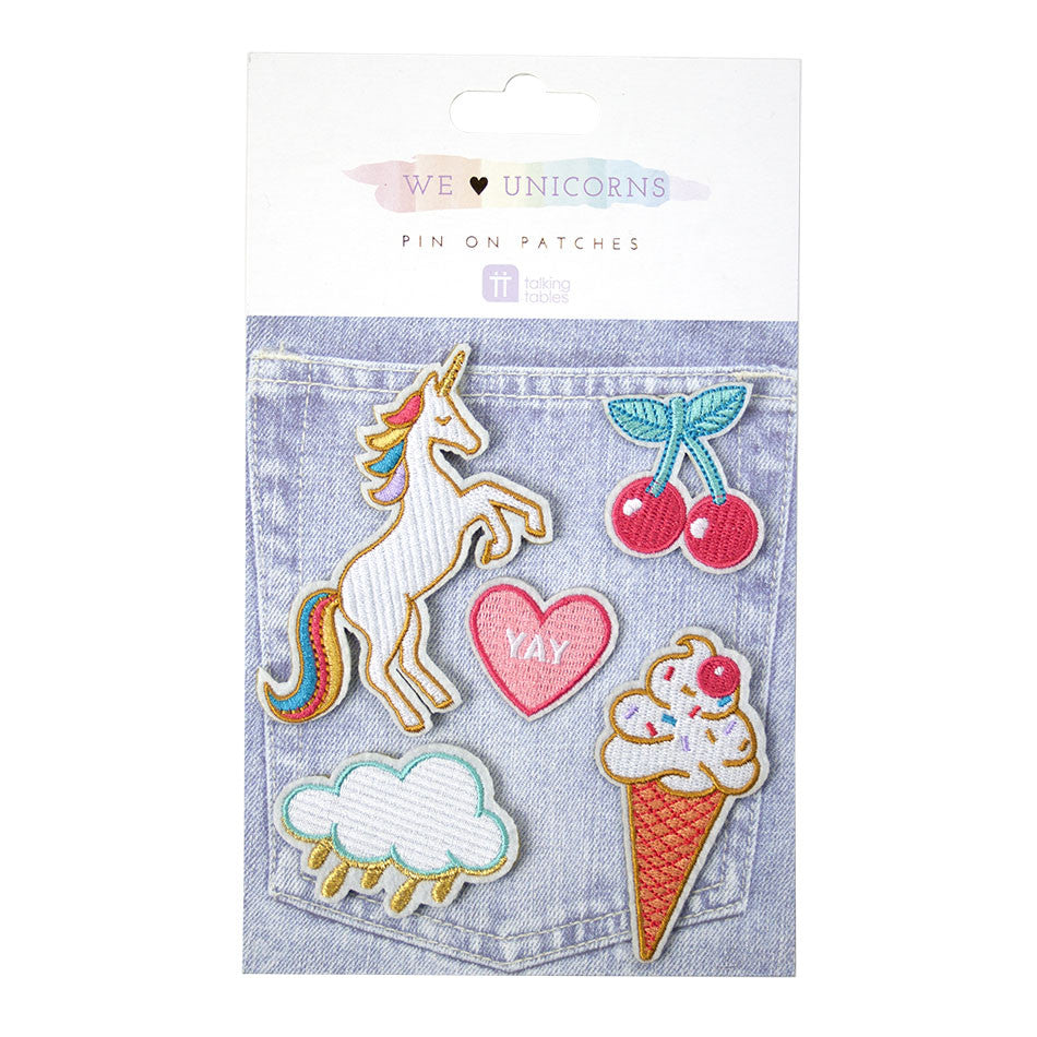 """We Heart Unicorns"" Pin on Patches, TT-Talking Tables, Putti Fine Furnishings"