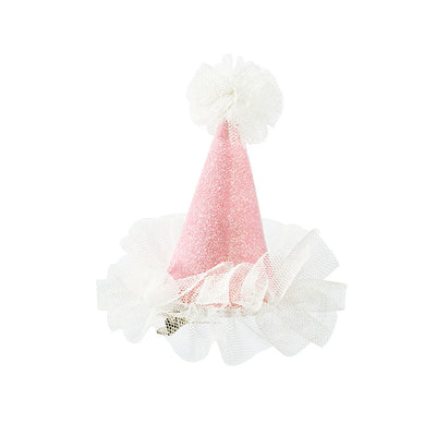 """We Heart Pink"" Mini Hat - Pink Glitter with White Tulle Party Supplies - Talking Tables - Putti Fine Furnishings Toronto Canada - 2"