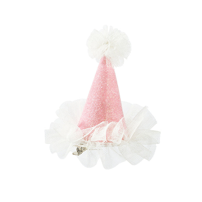 """We Heart Pink"" Mini Hat - Gold Glitter with Pink Tulle Party Supplies - Talking Tables - Putti Fine Furnishings Toronto Canada - 1"