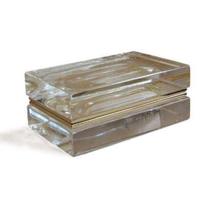Alessandro Mandruzzato Rectangular Murano Glass Box in Gold