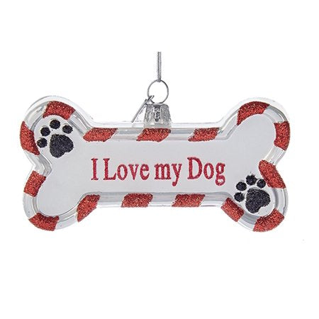 "Kurt Adler ""I Love my Dog""  Glass Ornament"