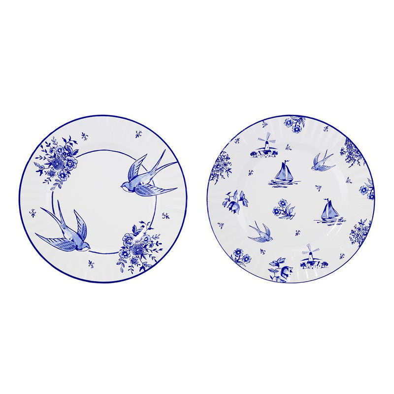 Party Porcelain Blue Large Paper Plates Swallows -  Party Supplies - Talking Tables - Putti Fine Furnishings Toronto Canada - 1
