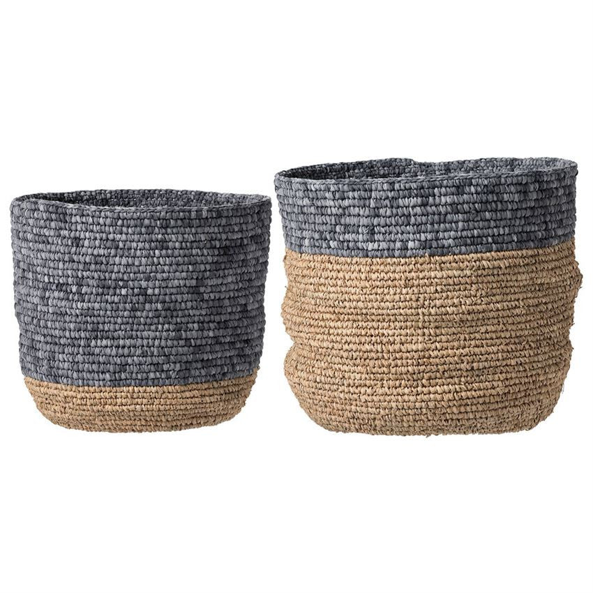 Natural and Grey Seagrass Baskets, BV-Bloomingville, Putti Fine Furnishings