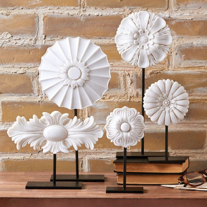 Tozai White Architectural Medallions on Stands -  Putti Fine Furnishings Canada