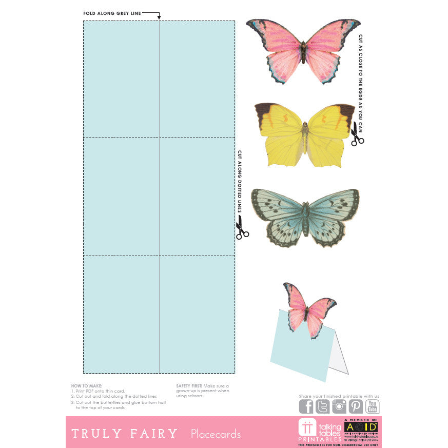 """Truly Fairy"" Free Printable - Placecards"