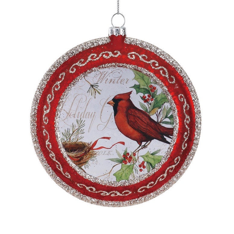 Cardinal Glass Disk Ornament  | Putti Christmas Decorations