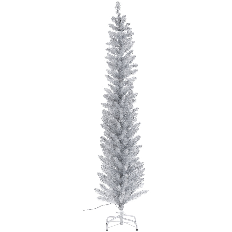 Vintage Style Silver Tinsel Tree - Pre Lit 6'