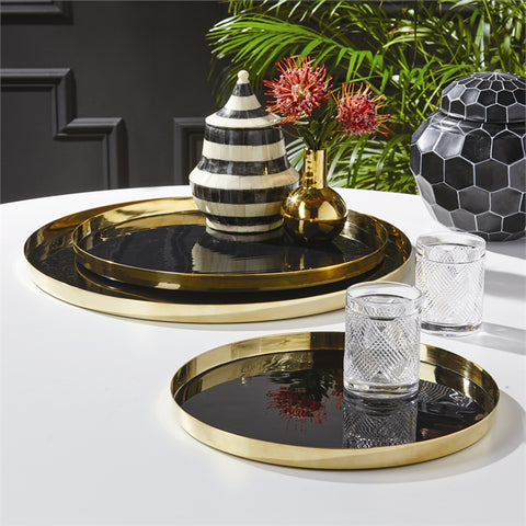 Tozai Black Lacquer and Brass Round Trays - Set of 3