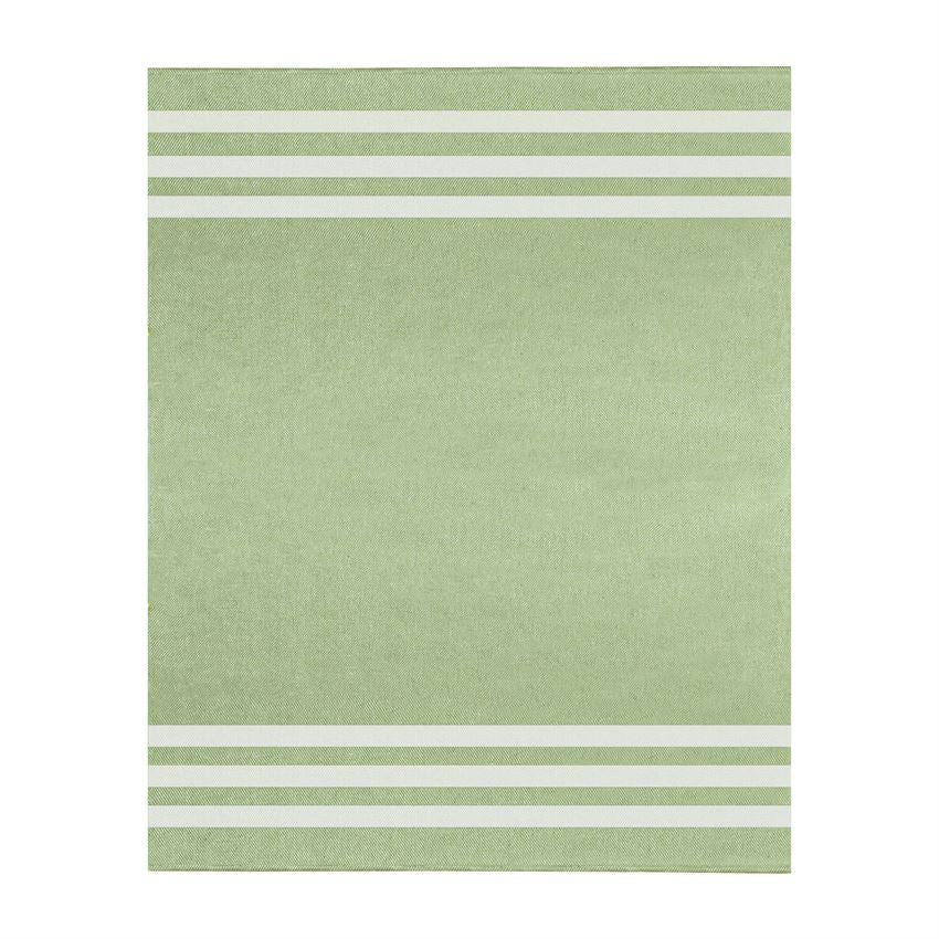 Green and White Stripe Cotton Throw