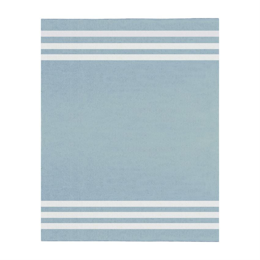Blue and White Stripe Cotton Throw