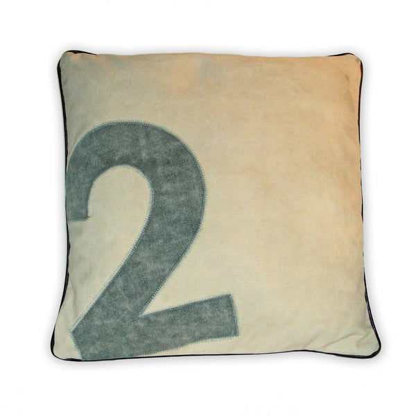 Cream Canvas Polo Number Cushions -  Soft Furnishings - Culinary Concepts London - Putti Fine Furnishings Toronto Canada - 1
