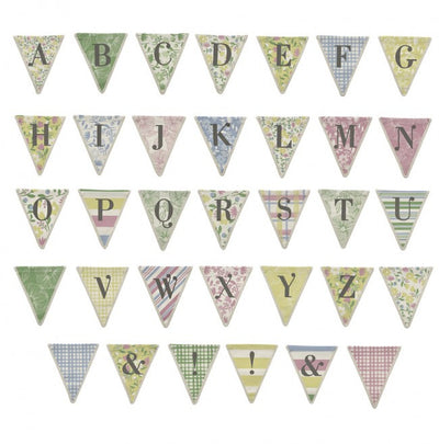 Meri Meri Alphabet Bunting - Blue Check Pattern, MM-Meri Meri UK, Putti Fine Furnishings