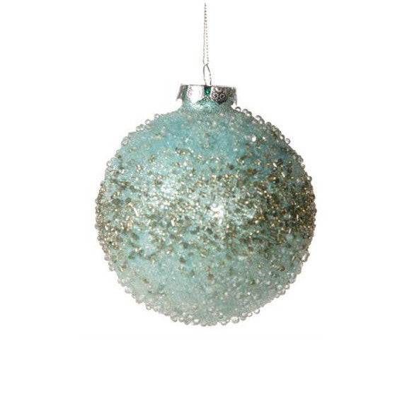 Beaded Aqua Glass Ball