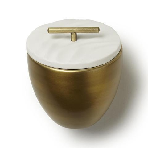 Thymes Frasier Gold Metal Candle with Lid | Putti Fine Furnishings Canada