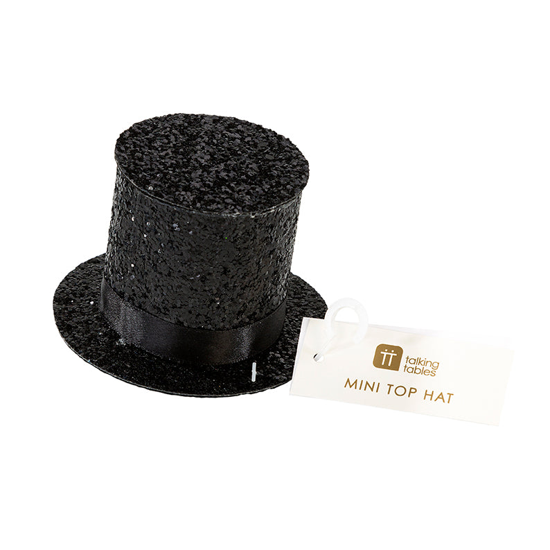 Black Glitter Top Hat Party Hat, TT-Talking Tables, Putti Fine Furnishings