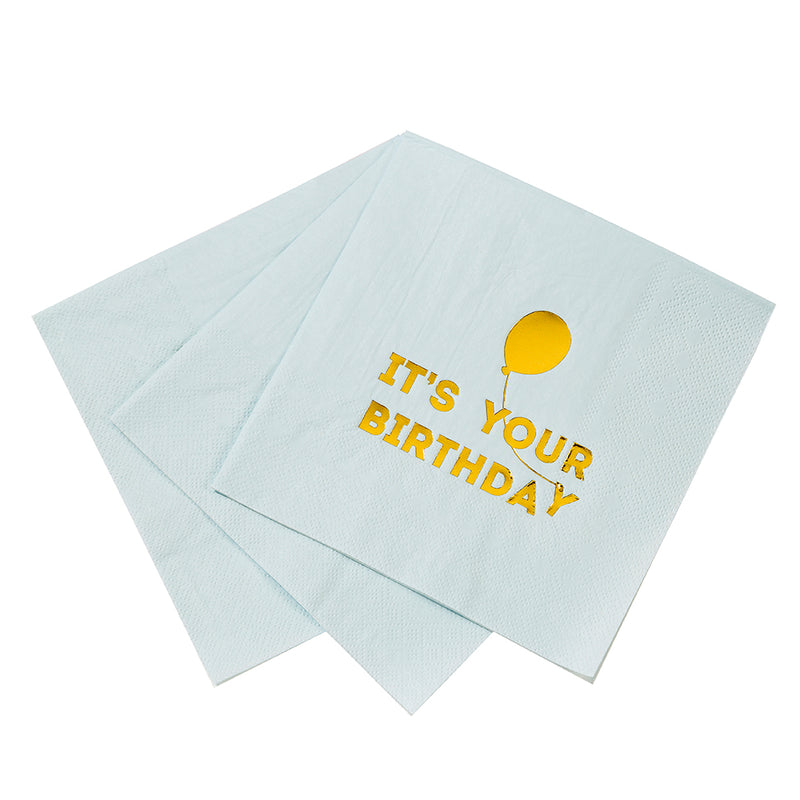 """We Heart Birthdays"" Blue Napkins"