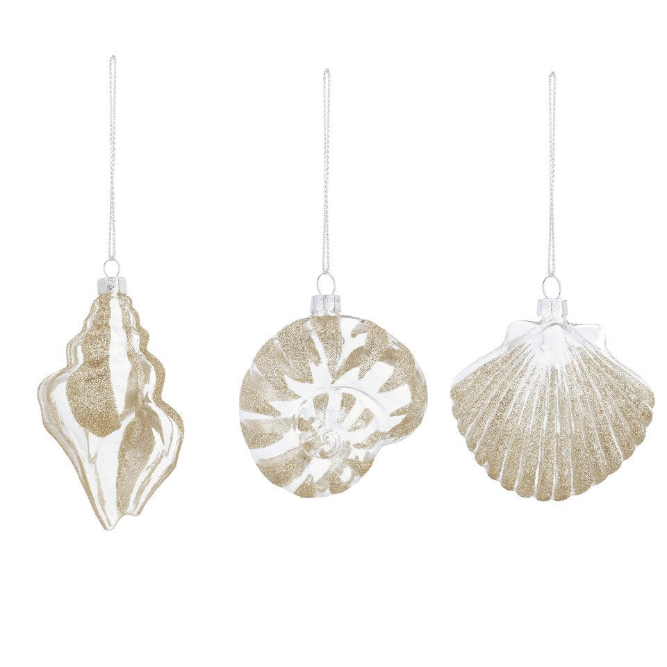 Gold Glittered Shell Glass Ornaments | Putti Christmas