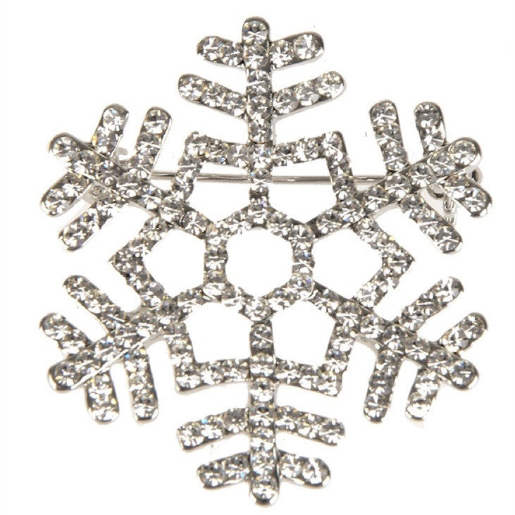 Clear Crystal Snowflake Brooch - Small