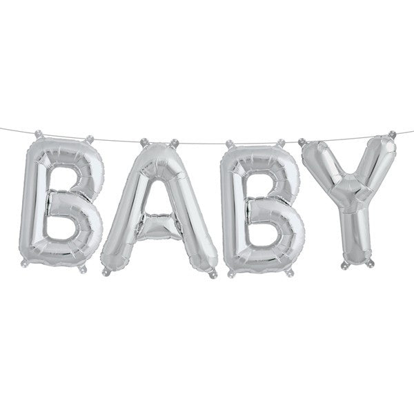 "Silver Foil ""Baby"" Balloon Banner, SE-Surprize Enterprize, Putti Fine Furnishings"