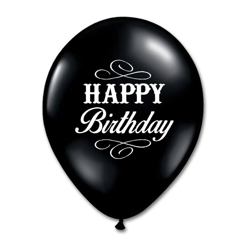 """Happy Birthday"" Balloon - Black -  Party Supplies - Vintage Angel - Putti Fine Furnishings Toronto Canada"