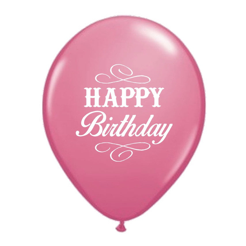 """Happy Birthday"" Balloon - Rose Pink -  Party Supplies - Vintage Angel - Putti Fine Furnishings Toronto Canada"