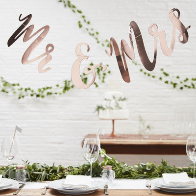"""Beautiful Botanics"" Mr & Mrs Rose Gold Bunting Backdrop"