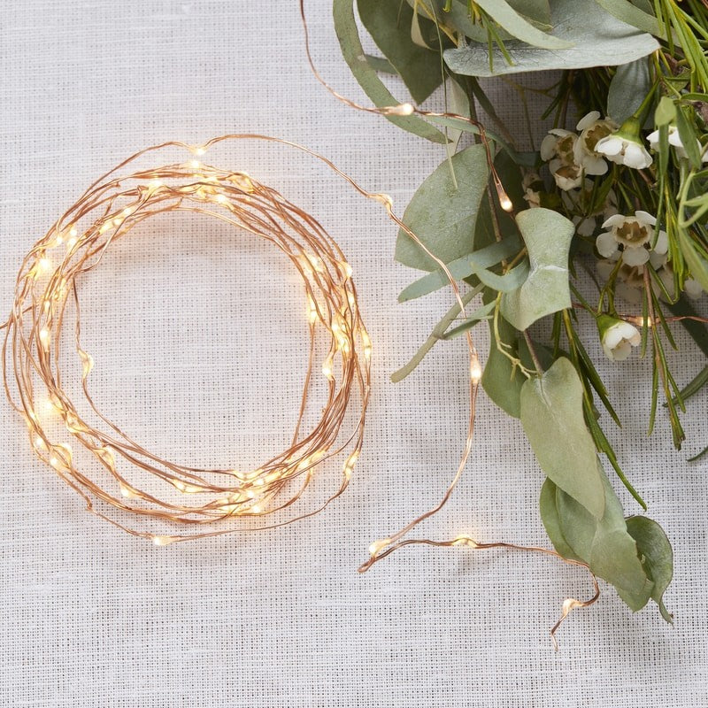 """Beautiful Botanics"" Rose Gold LED String Table Lights"