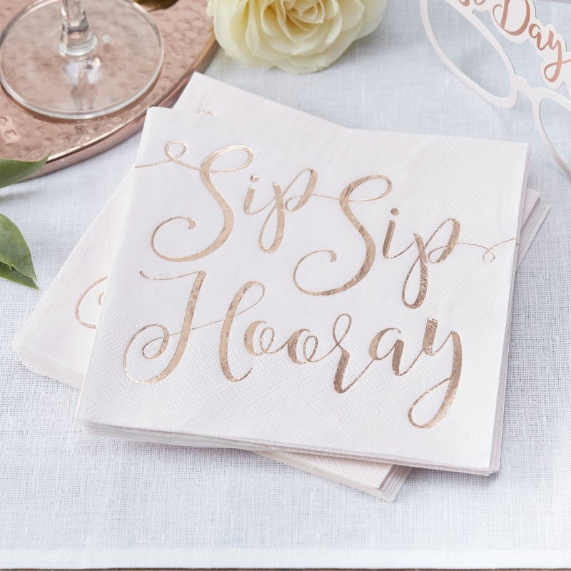 "Beautiful Botanics Rose Gold ""Sip Sip Hooray"" Paper Napkins - Lunch, GR-Ginger Ray UK, Putti Fine Furnishings"