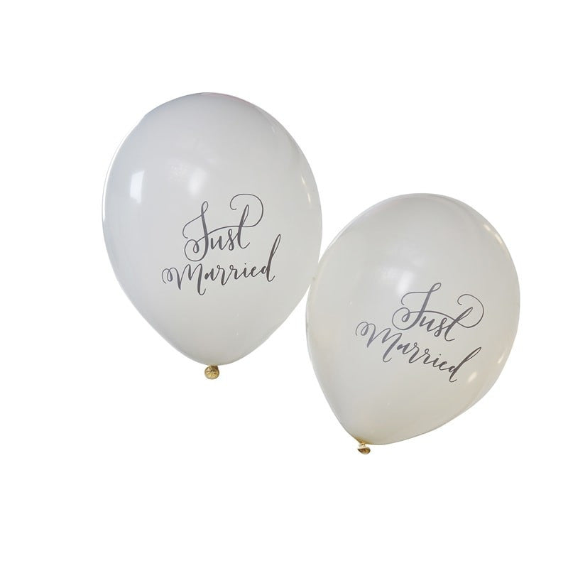 """Just Married"" White Script Balloon"