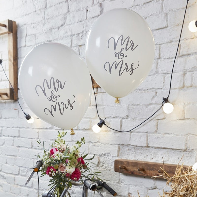 """Mr & Mrs"" White Script Balloon"