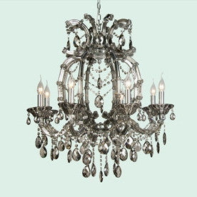 Smoke Crystal Chandelier - 8 Light-Ceiling Fixture-BI-Bethel International-Putti Fine Furnishings