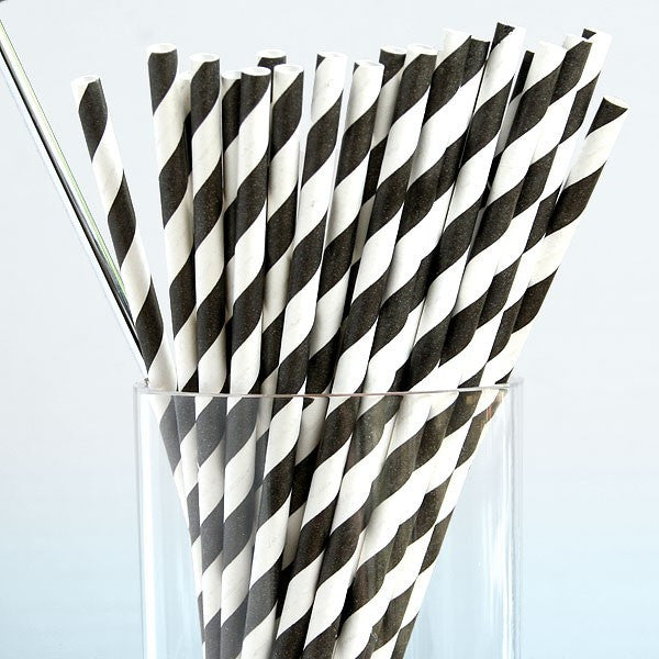 Retro Black and White Striped Paper Straws