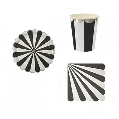 """Toot Sweet"" Black and White Striped - Large Paper Plates -  Party Supplies - Meri Meri UK - Putti Fine Furnishings Toronto Canada - 3"