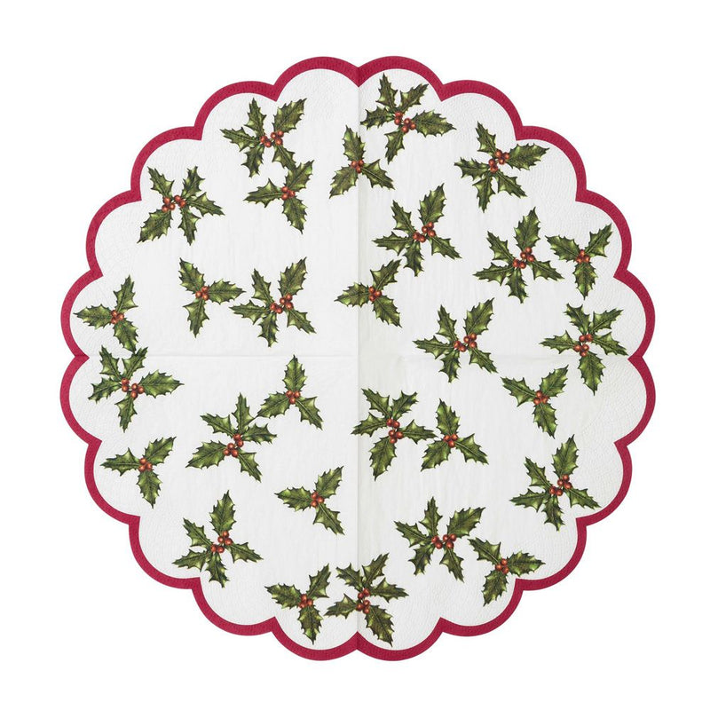 Botanical Christmas Scalloped Lunch Paper Napkin | Putti Celebrations Canada