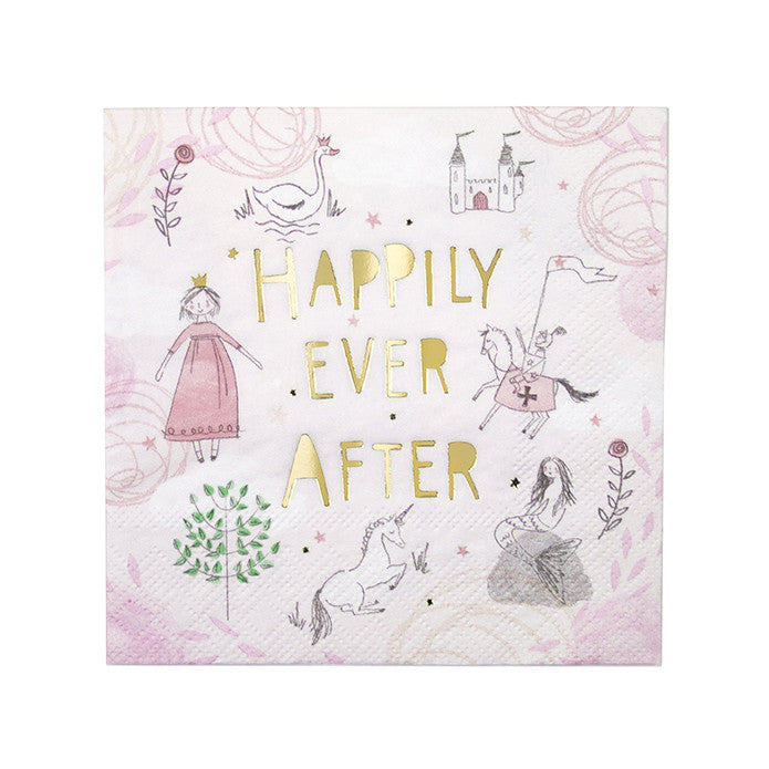 """We Heart Fairytales"" Pink Napkins - Lunch"