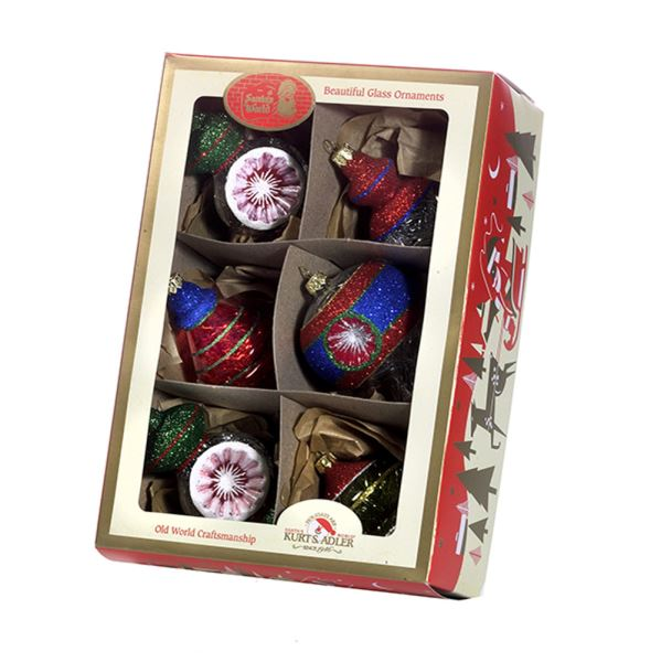 Early Years Glass Multi-Color Retro Ornaments, 6-Piece Box Set | Putti Christmas