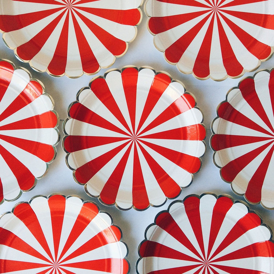 Meri Meri Red and White Striped - Large Paper Plates