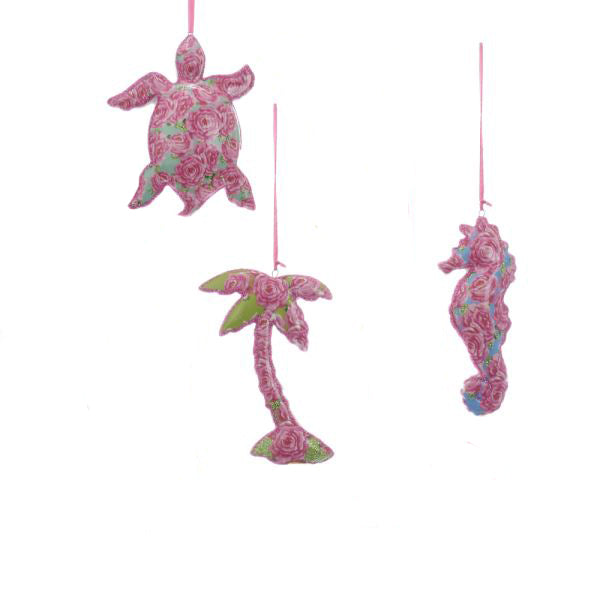 Kurt Adler Porcelain Seahorse, Turtle, Palm Tree Ornaments